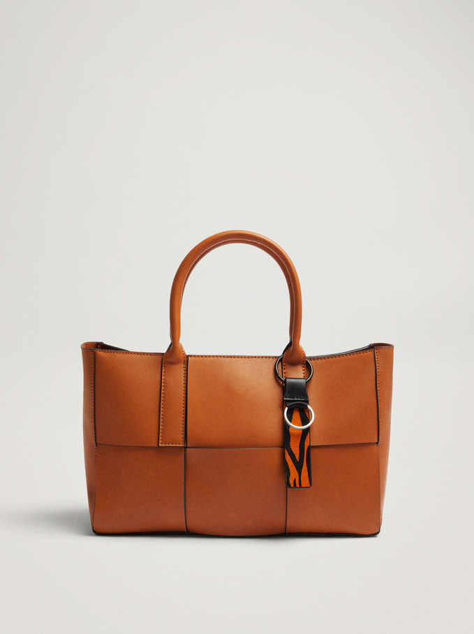 Woven Tote Bag With Removable Interior, Camel, hi-res