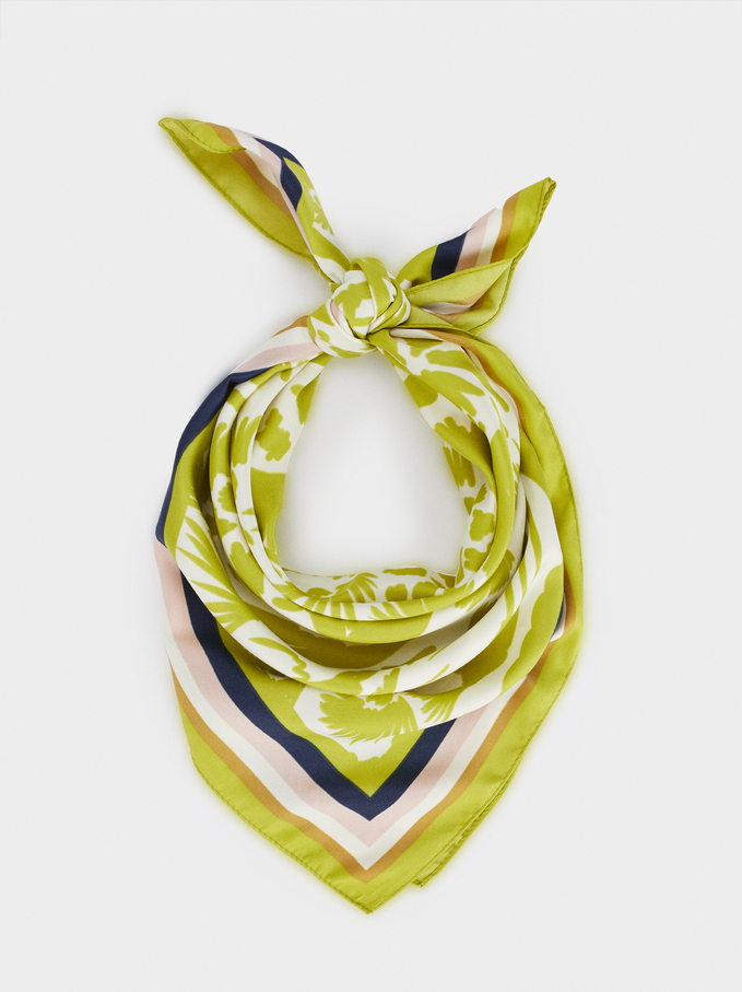 Printed Square Neckerchief, Yellow, hi-res