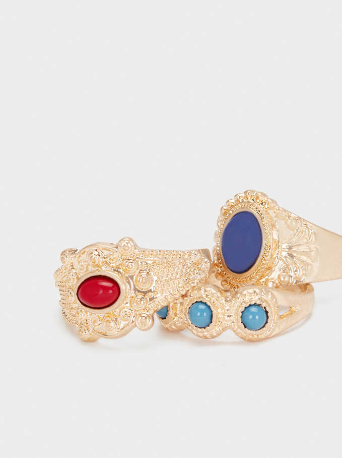 Gold Ring Set With Faux Pearl, Multicolor, hi-res