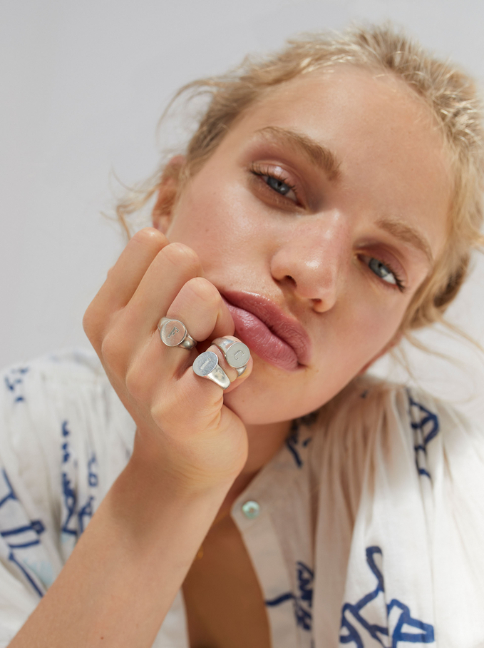 Pinky Finger Signet Ring Size L, Silver, hi-res