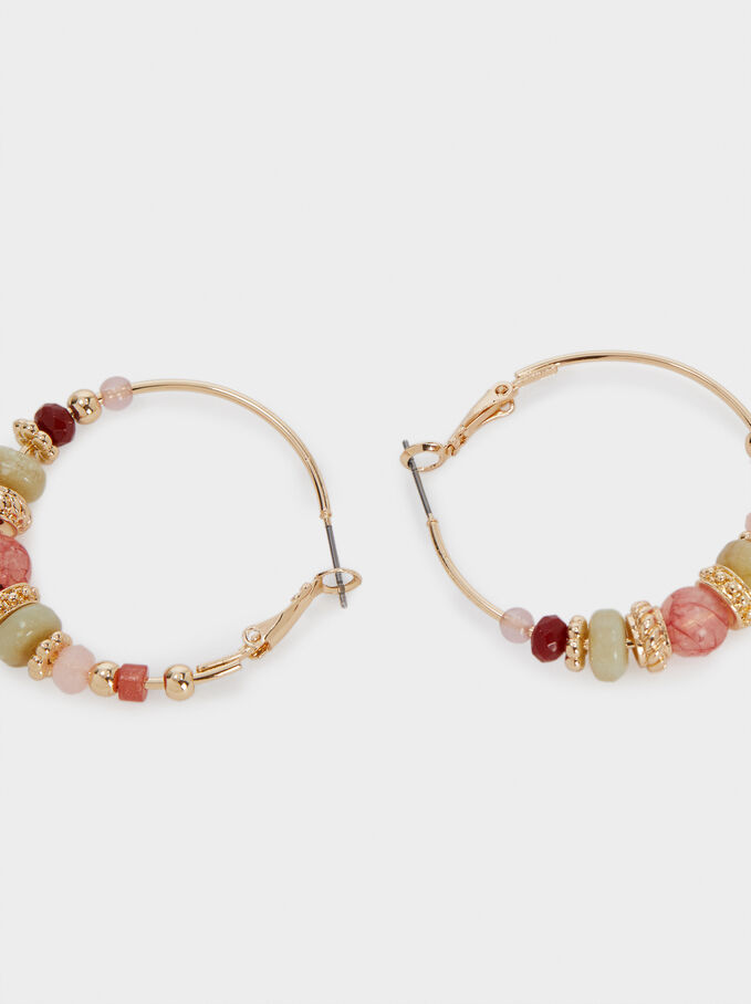 Christmas gift woman or girl BO176 Beaded hoop earrings gold pink and beige