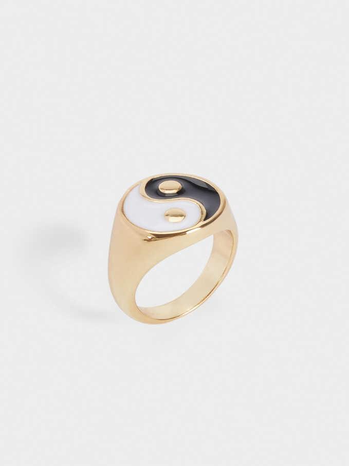 Pinky Finger Yin Yang Signet Ring, Black, hi-res