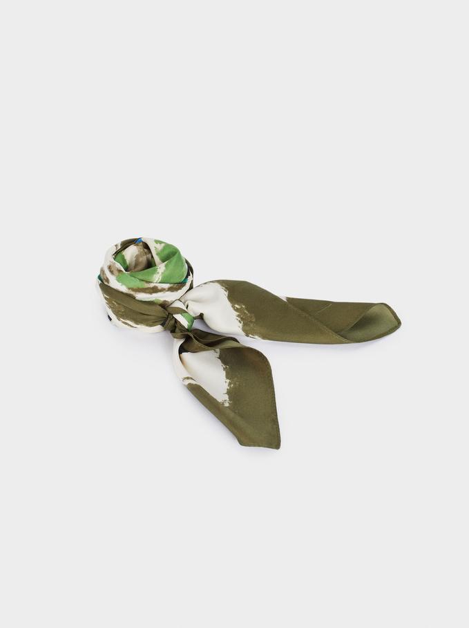Foulard Quadrato Stampato In Materiali Riciclati, Verde, hi-res