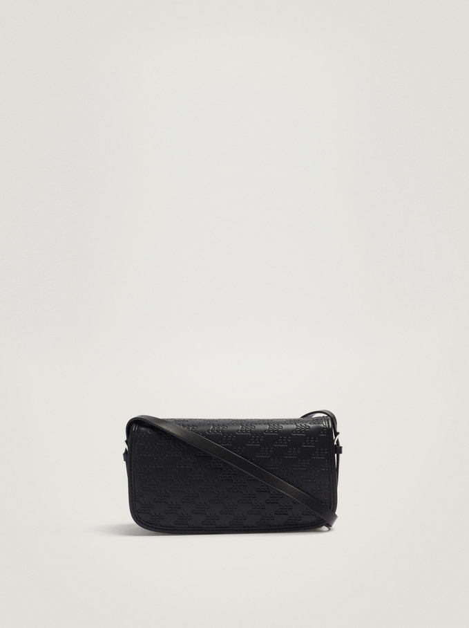 Embossed Shoulder Bag With Flap, Black, hi-res