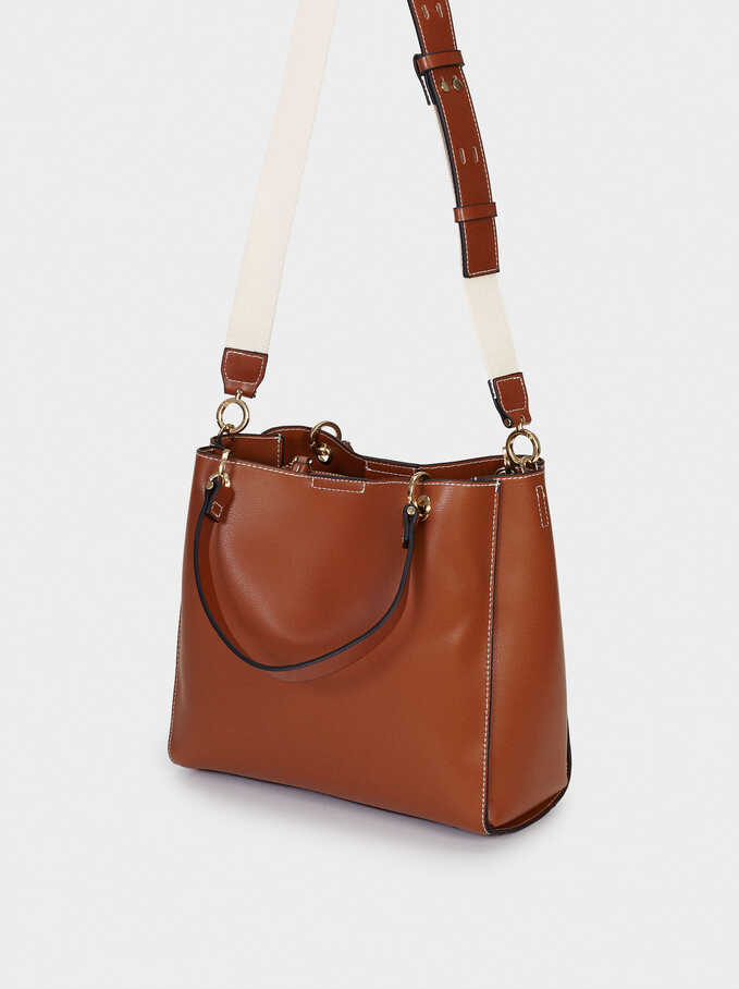 Tote Bag With Removable Shoulder Strap, Camel, hi-res