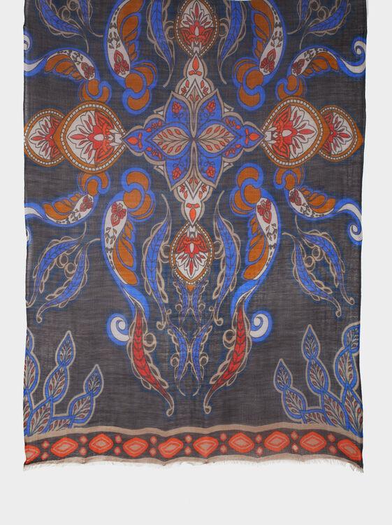 Printed Wool Scarf, Navy, hi-res