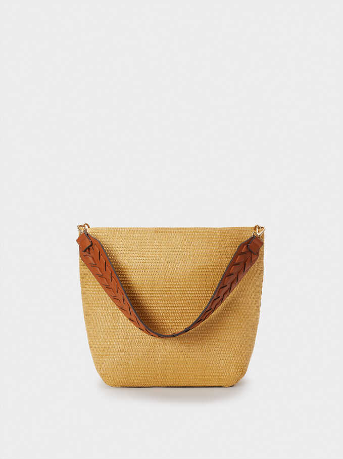 Raffia Textured Shoulder Bag, Beige, hi-res