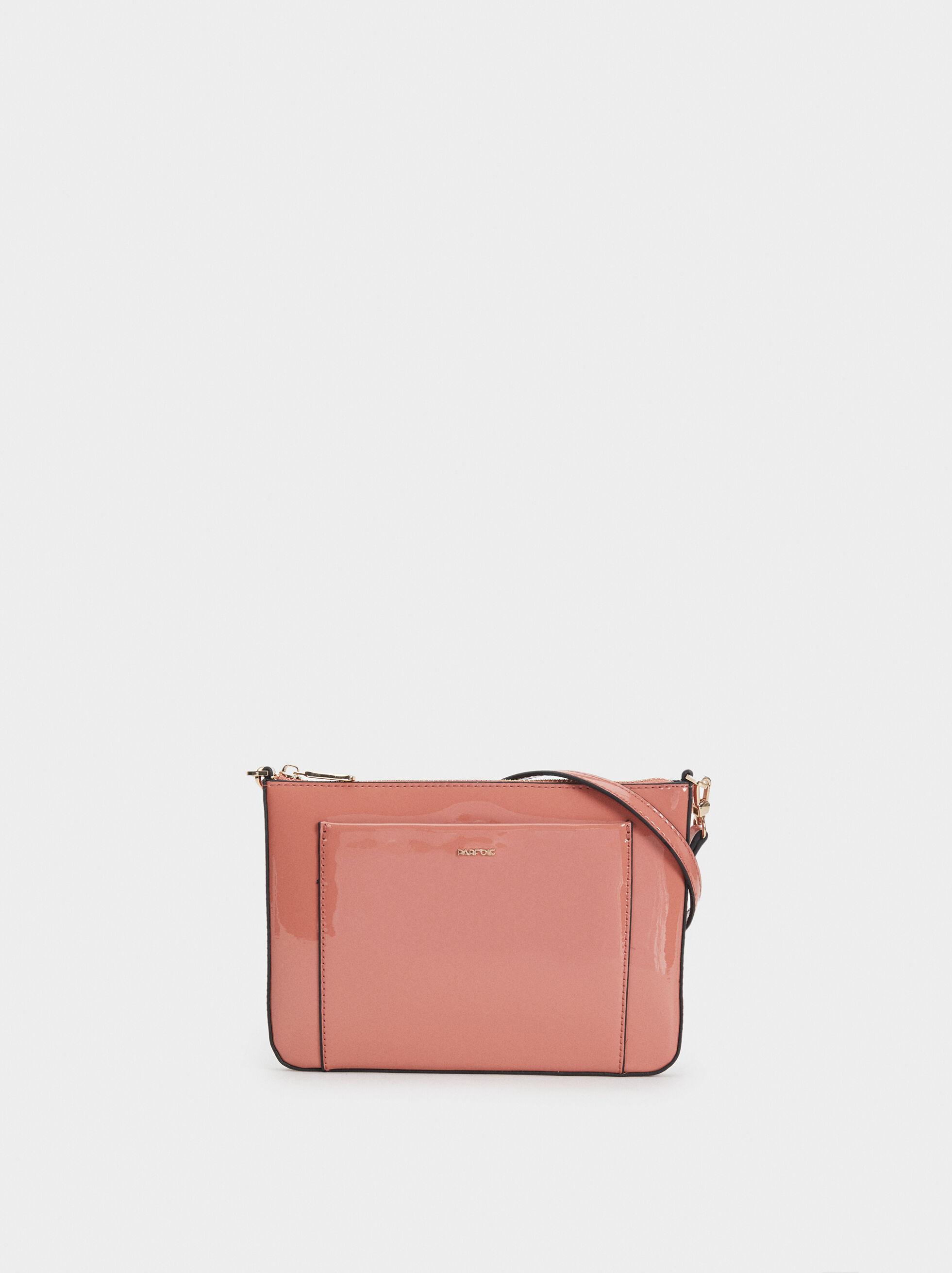 Patent Finish Shoulder Bag, Pink, hi-res