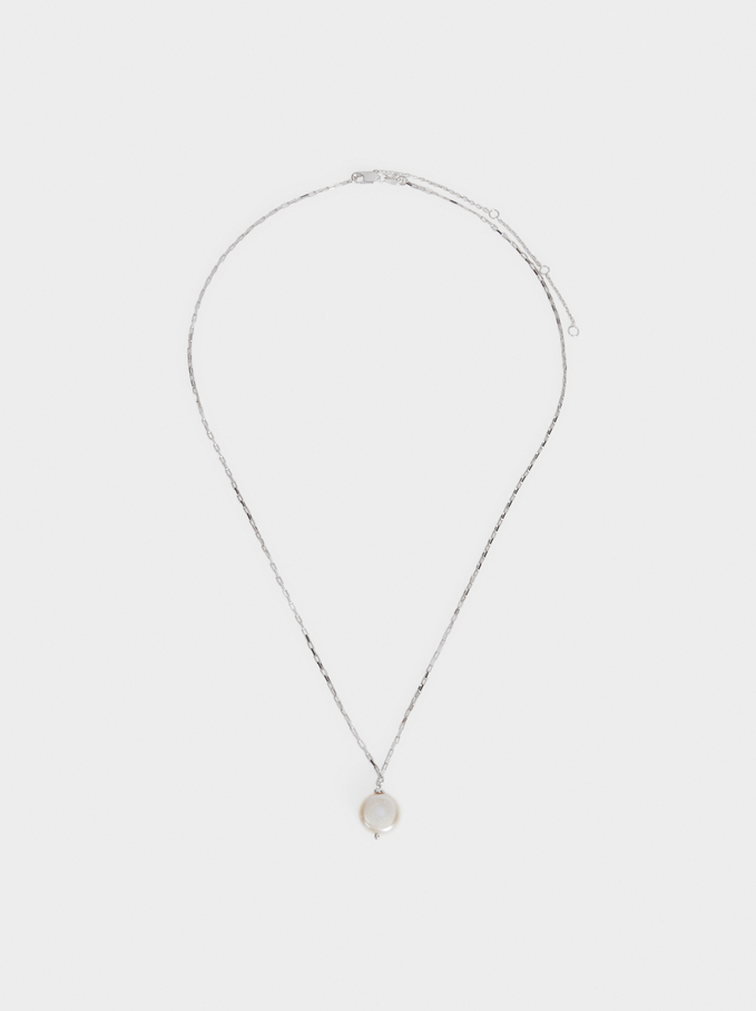 Short Silver 925 Necklace With Faux Pearl, Beige, hi-res