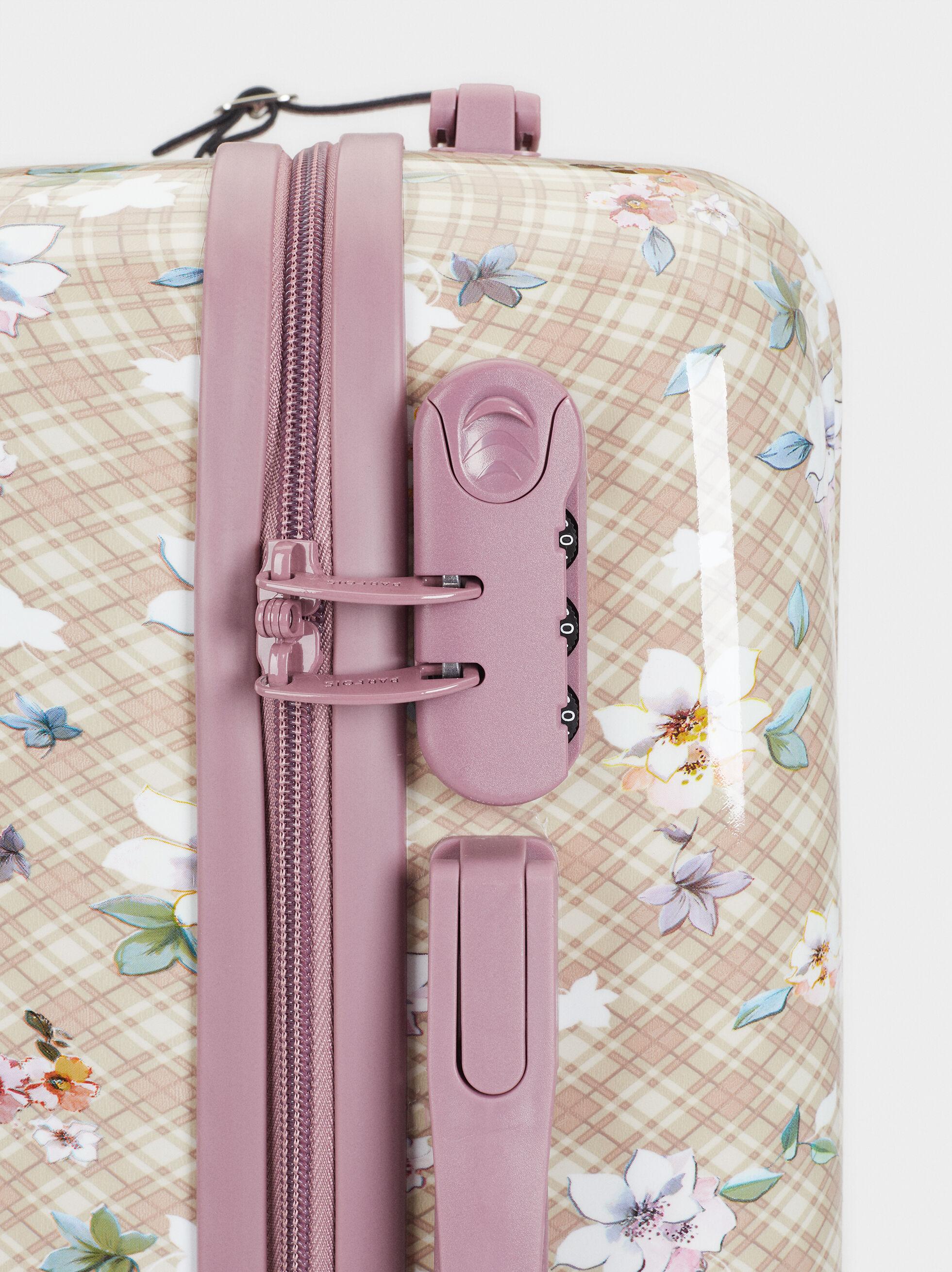 Floral Print Trolley Suitcase, Brown, hi-res