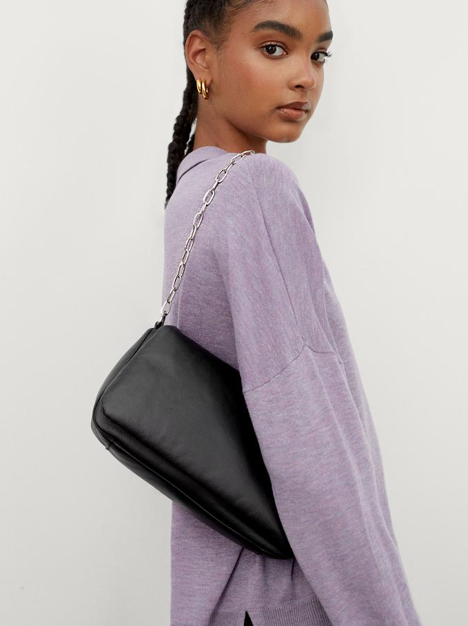 Party Handbag With Chain Handle, Black, hi-res