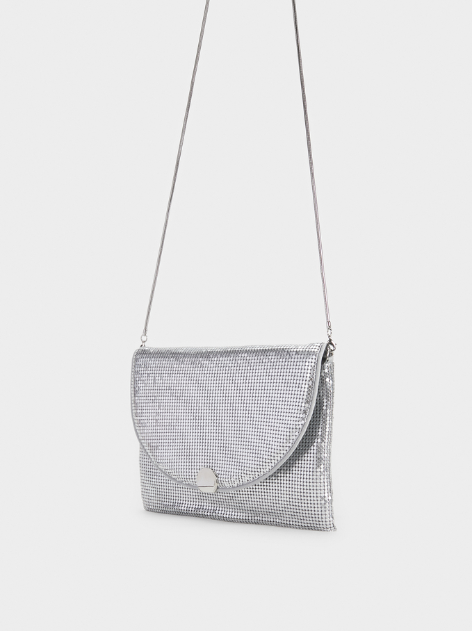 Mini Mesh Party Clutch, Silver, hi-res