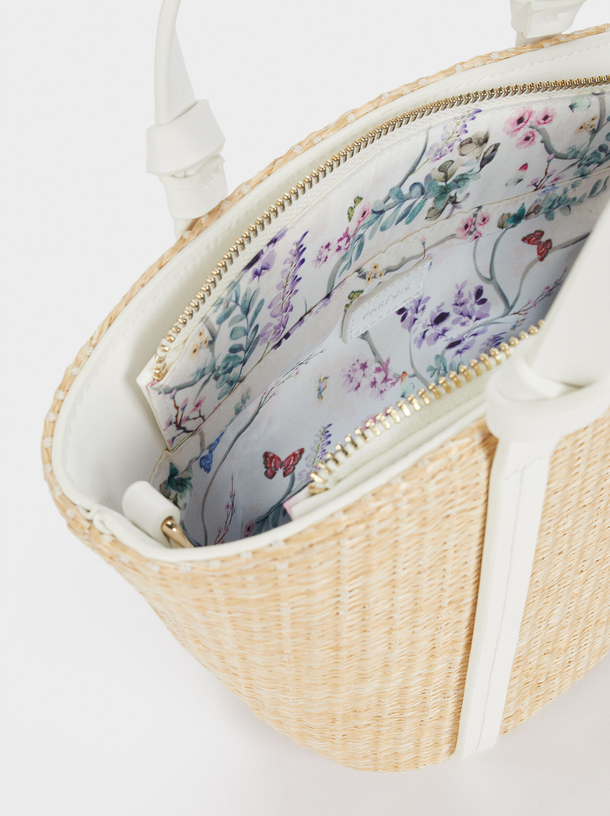 Raffia Textured Tote Bag , Beige, hi-res