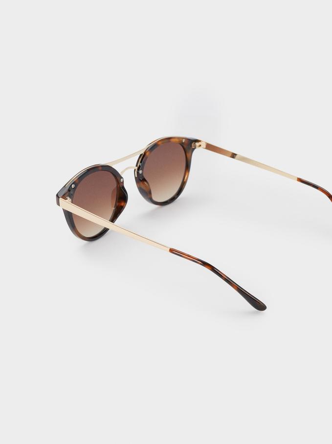 Óculos De Sol Redondos Tortoise, Castanho, hi-res