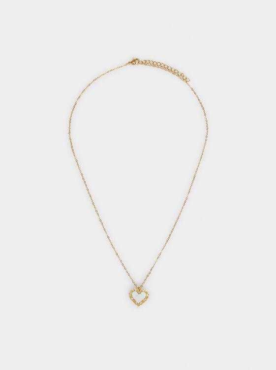 Short Steel Heart Necklace, , hi-res