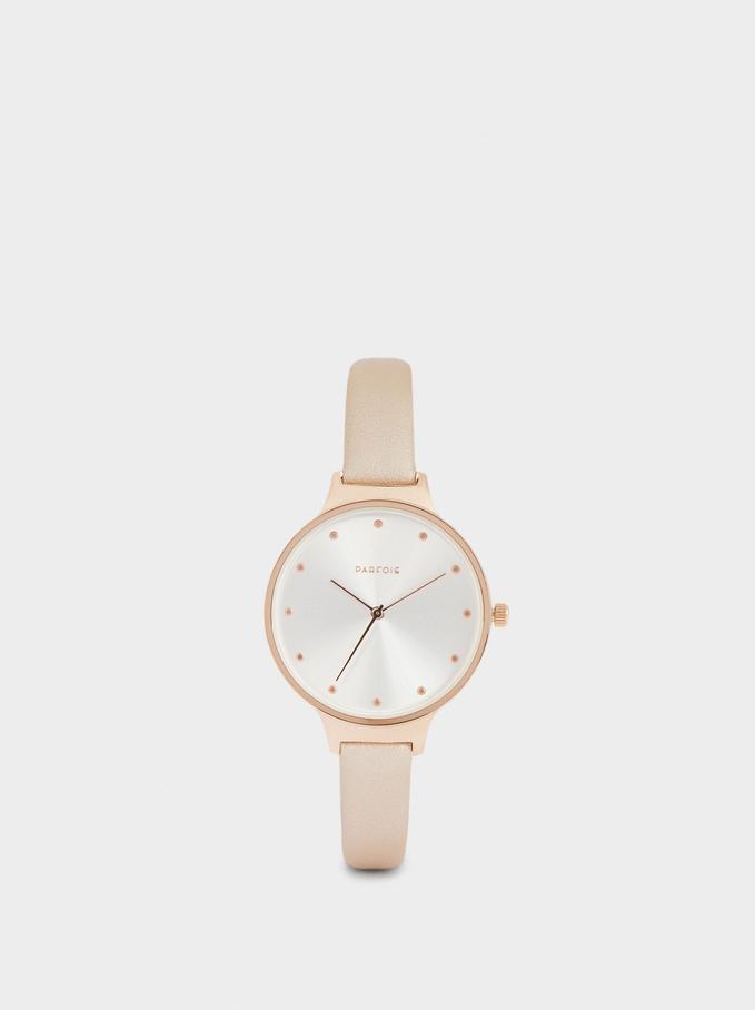 Round Face Stainless Steel Watch, Orange, hi-res