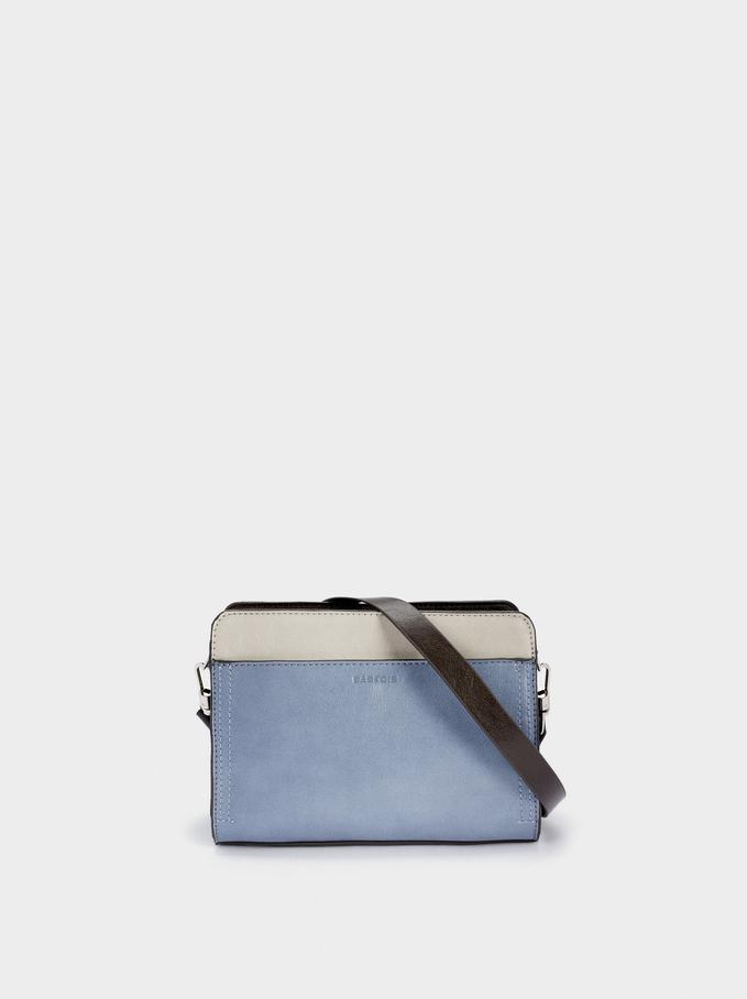Crossbody Bag With Outer Pocket, Blue, hi-res