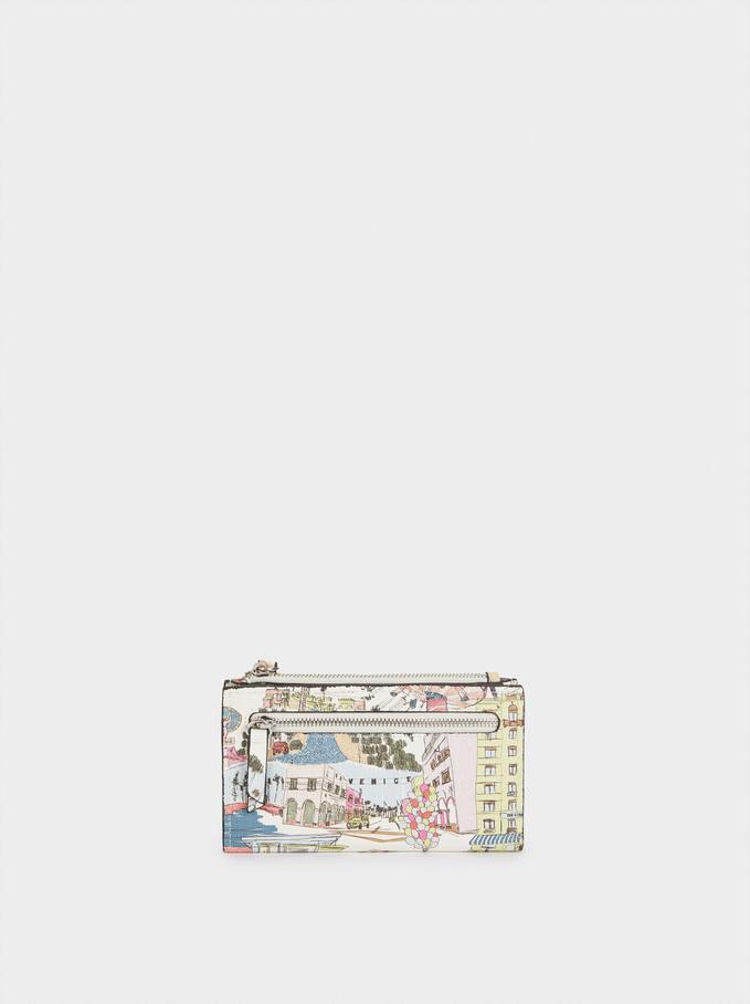 Portefeuille Imprimé Avec Fermeture Éclair, Écru, hi-res