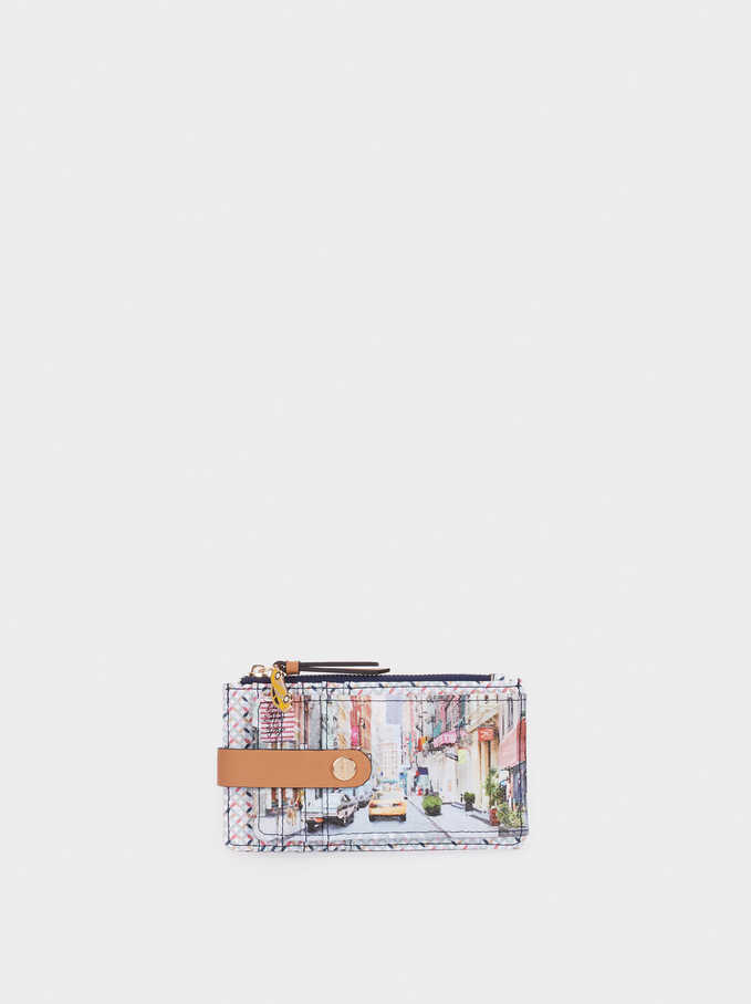 New York Print Card Holder Purse, Camel, hi-res