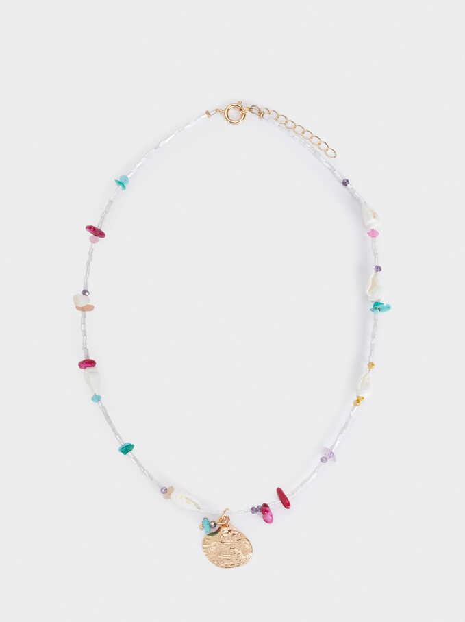 Short Necklace With Shell And Beads, White, hi-res