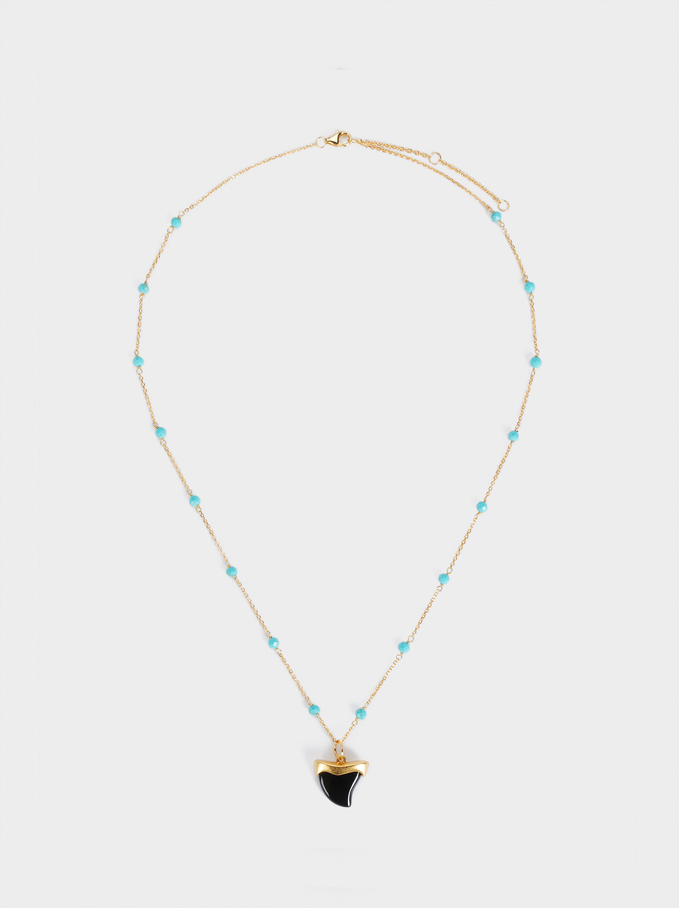 Short Silver 925 Necklace With Horn, Multicolor, hi-res