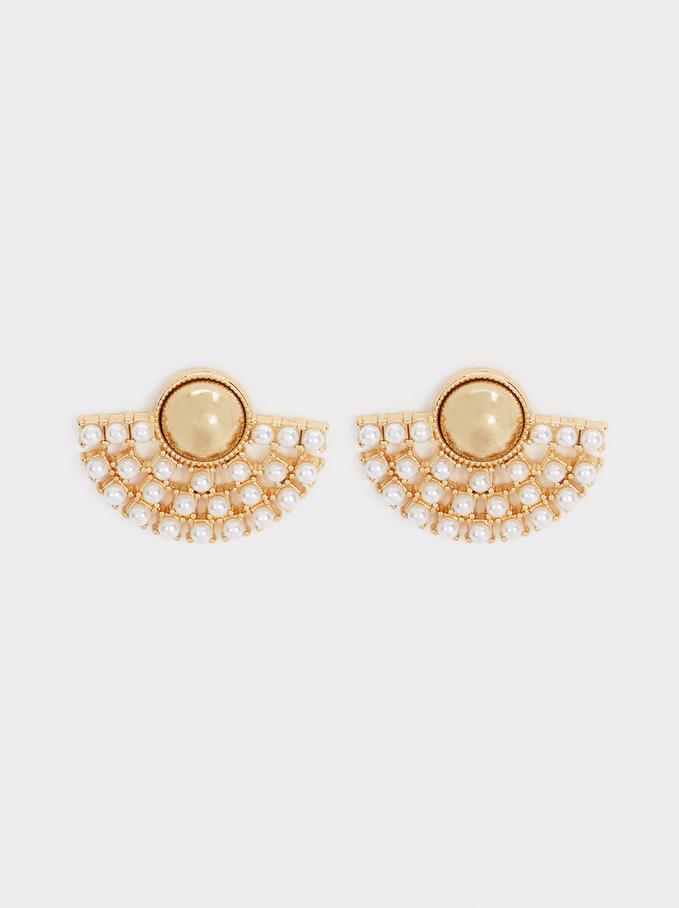Short Gold Metal Earrings, , hi-res