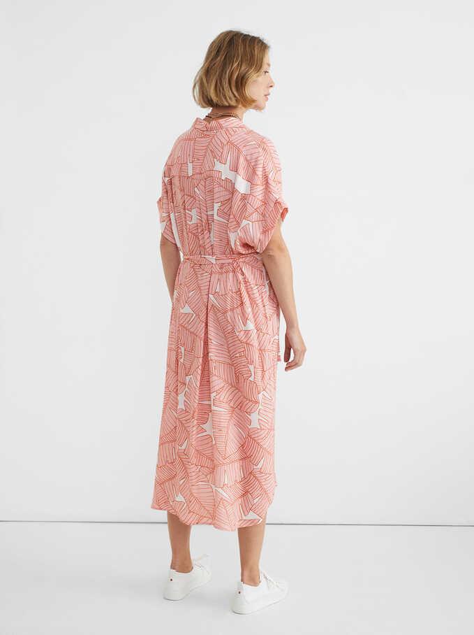 Leaf Print Shirt Dress, Pink, hi-res