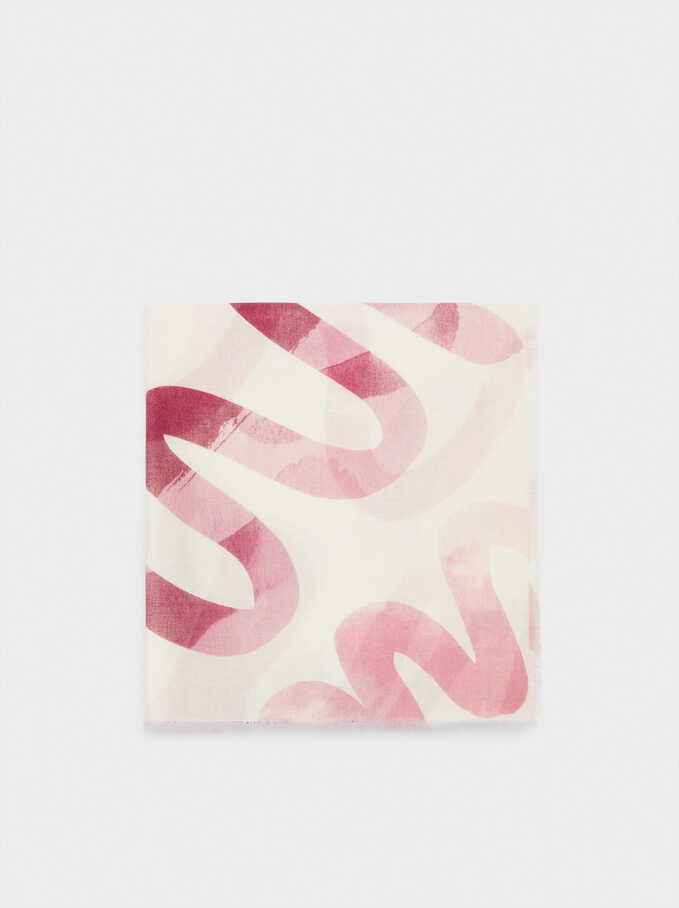 Printed Scarf, Pink, hi-res