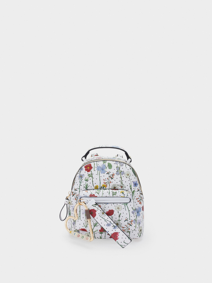 Floral Print Backpack, Red, hi-res