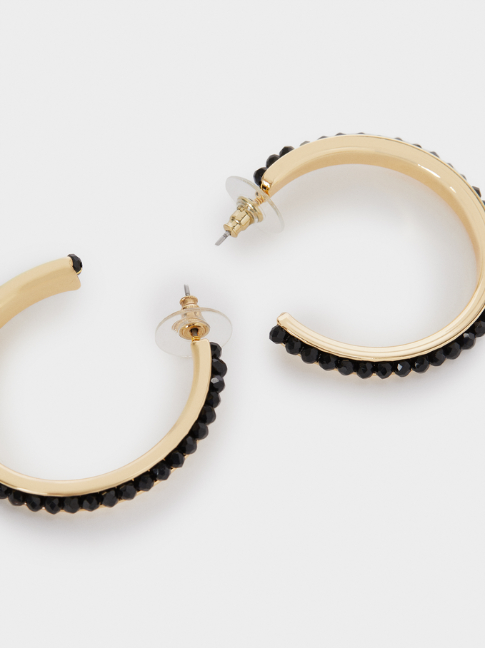 Hoop Earrings With Crystals, Black, hi-res