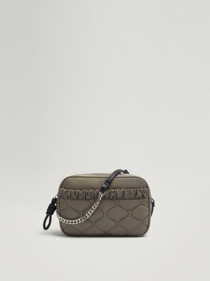Nylon Crossbody Bag With Pleats, Khaki, hi-res