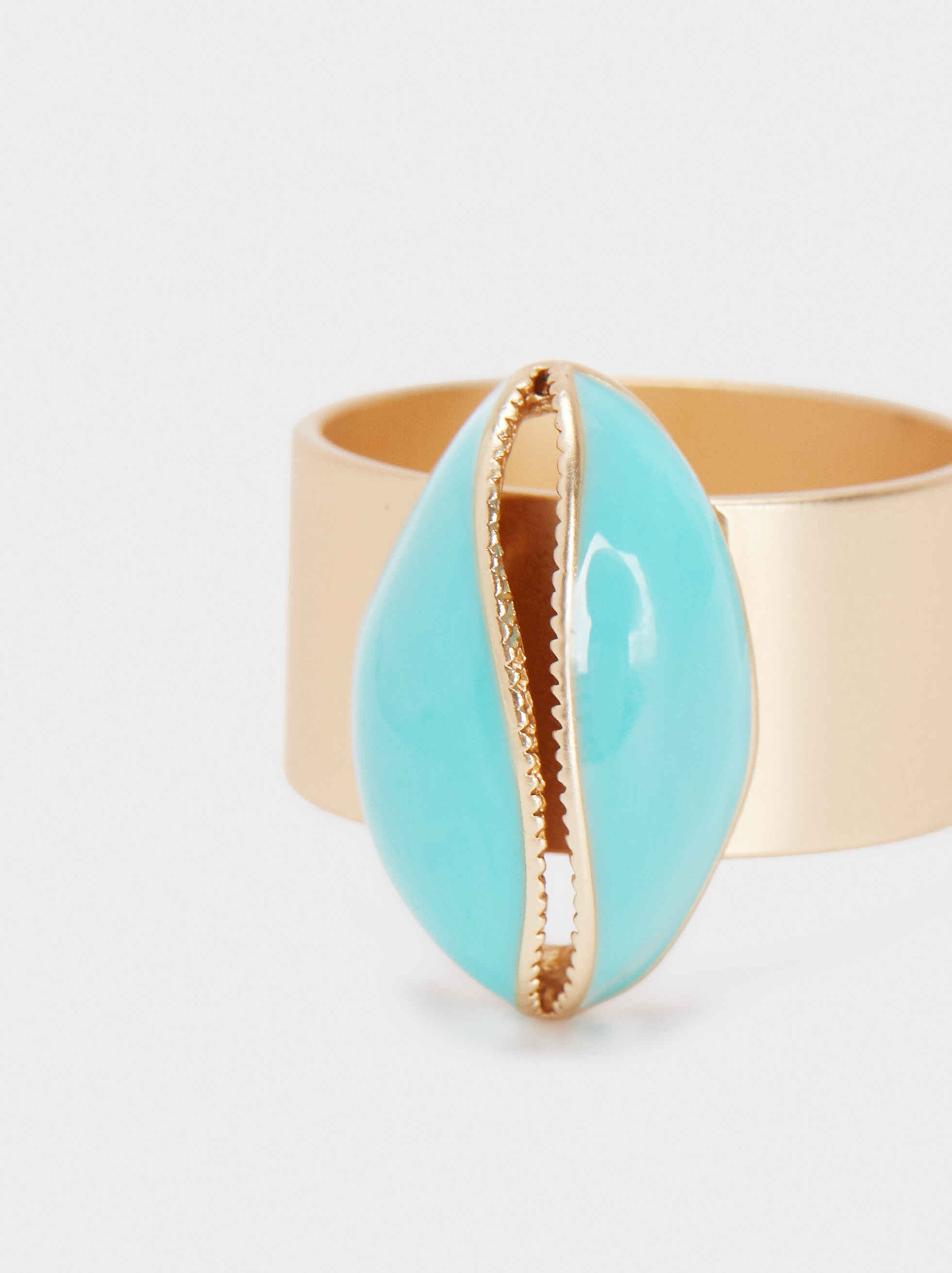 Multicoloured Shell Ring, Beige, hi-res