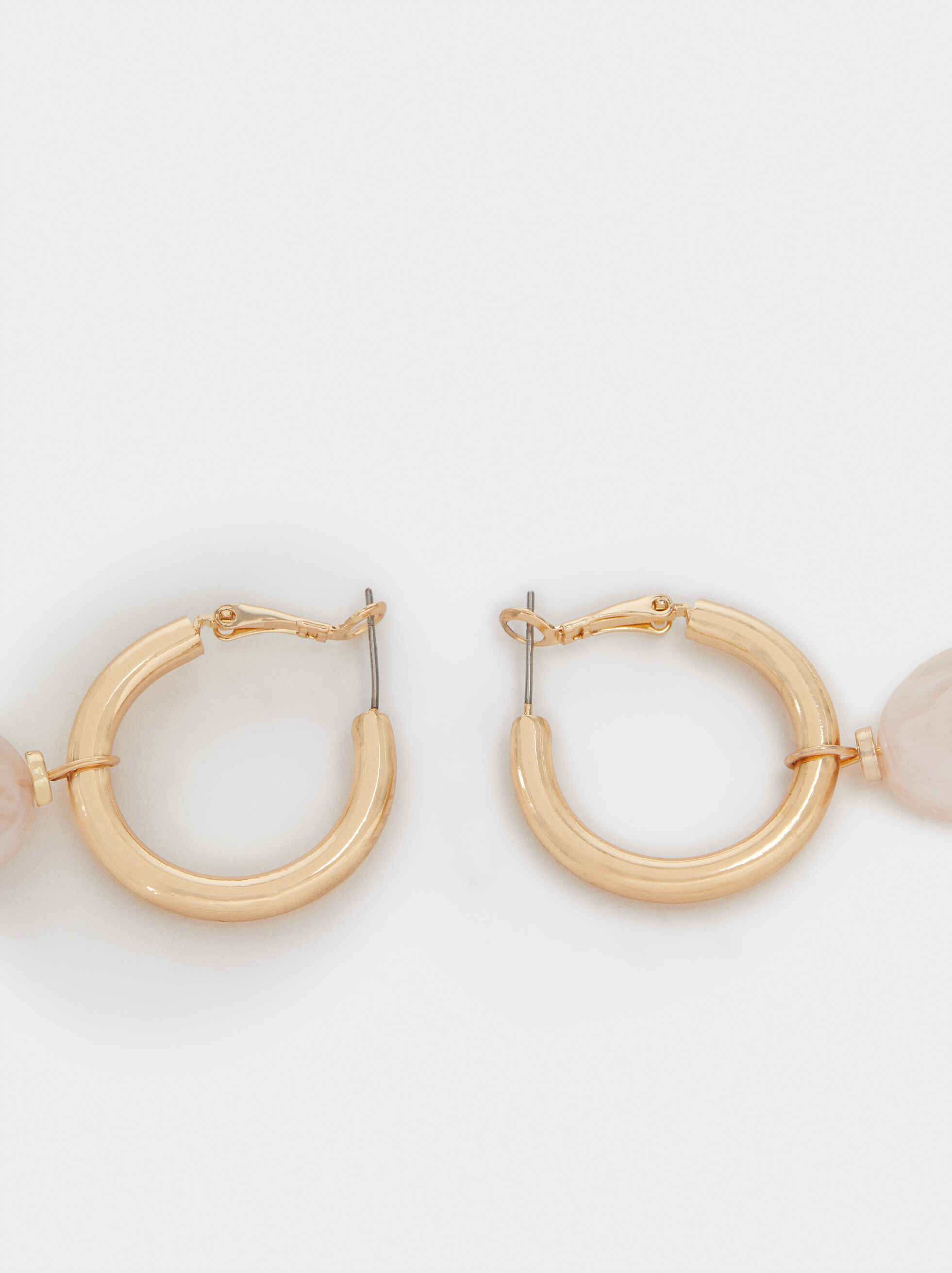 Long Multicoloured Resin Hoop Earrings, Pink, hi-res
