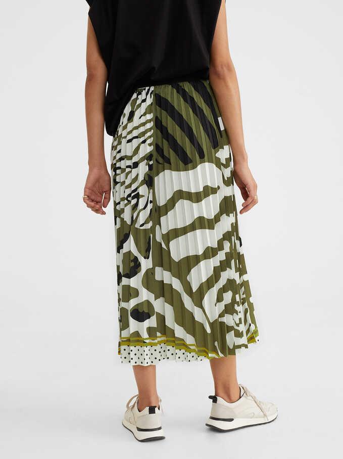 Animal Print Skirt, Green, hi-res