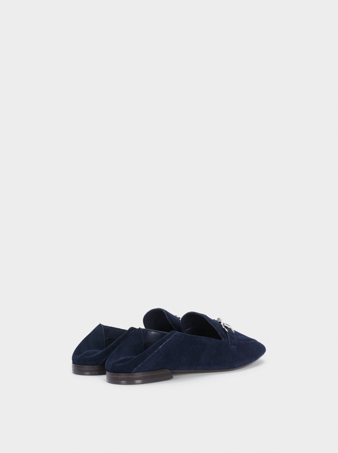 Leather Moccasins With Chain Detail, Navy, hi-res