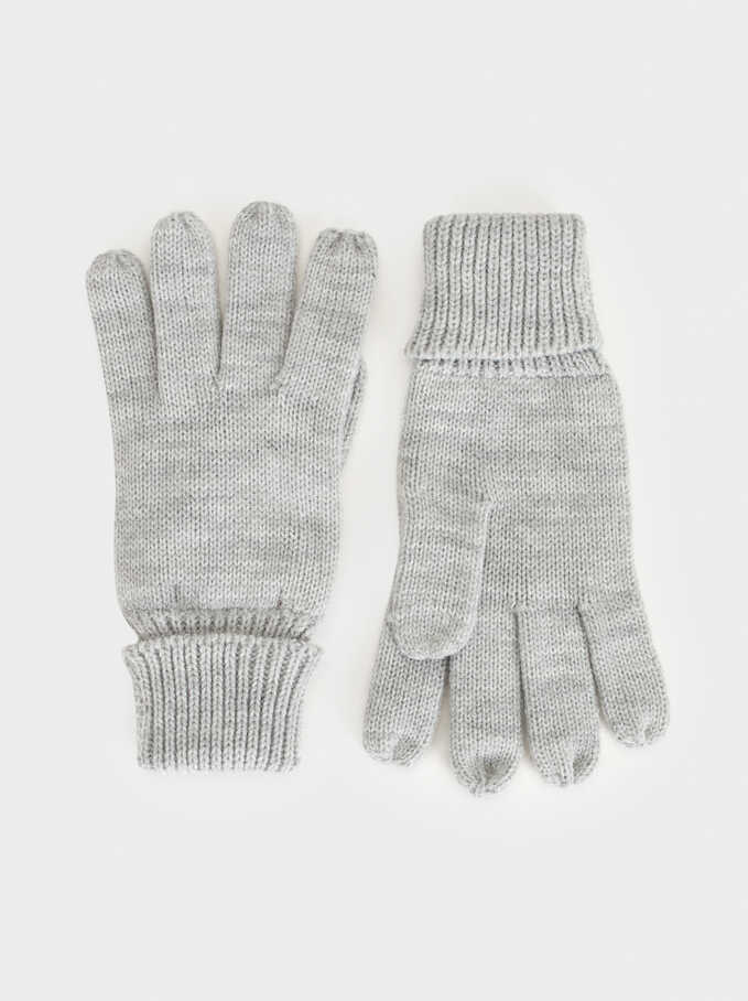 Gloves With Ribbed Cuffs, Grey, hi-res
