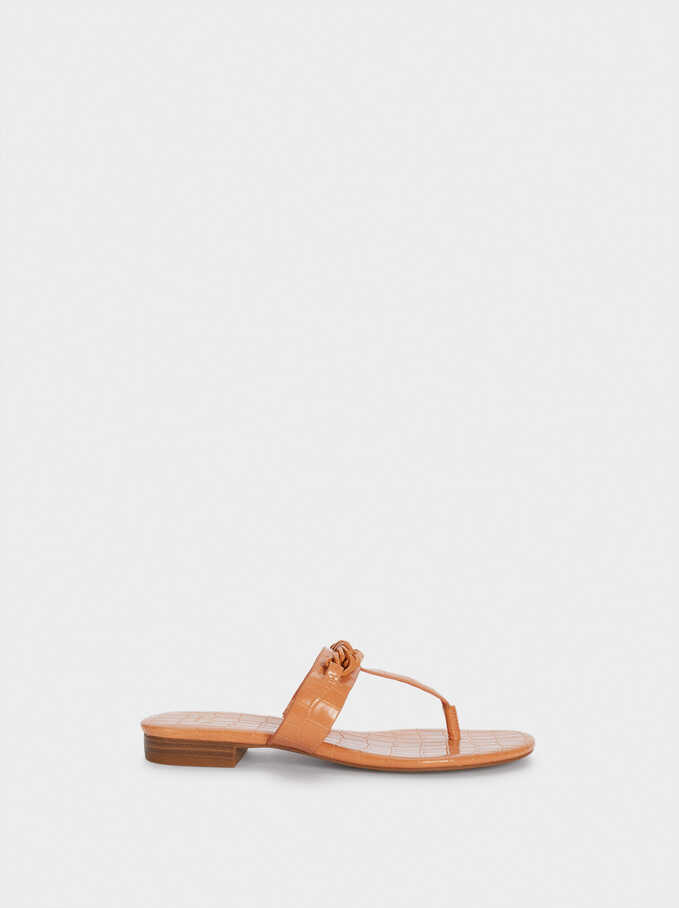 Animal Print Flat Sandals With Chain, Pink, hi-res