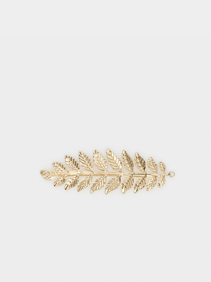 Leaf Hair Clip , Golden, hi-res