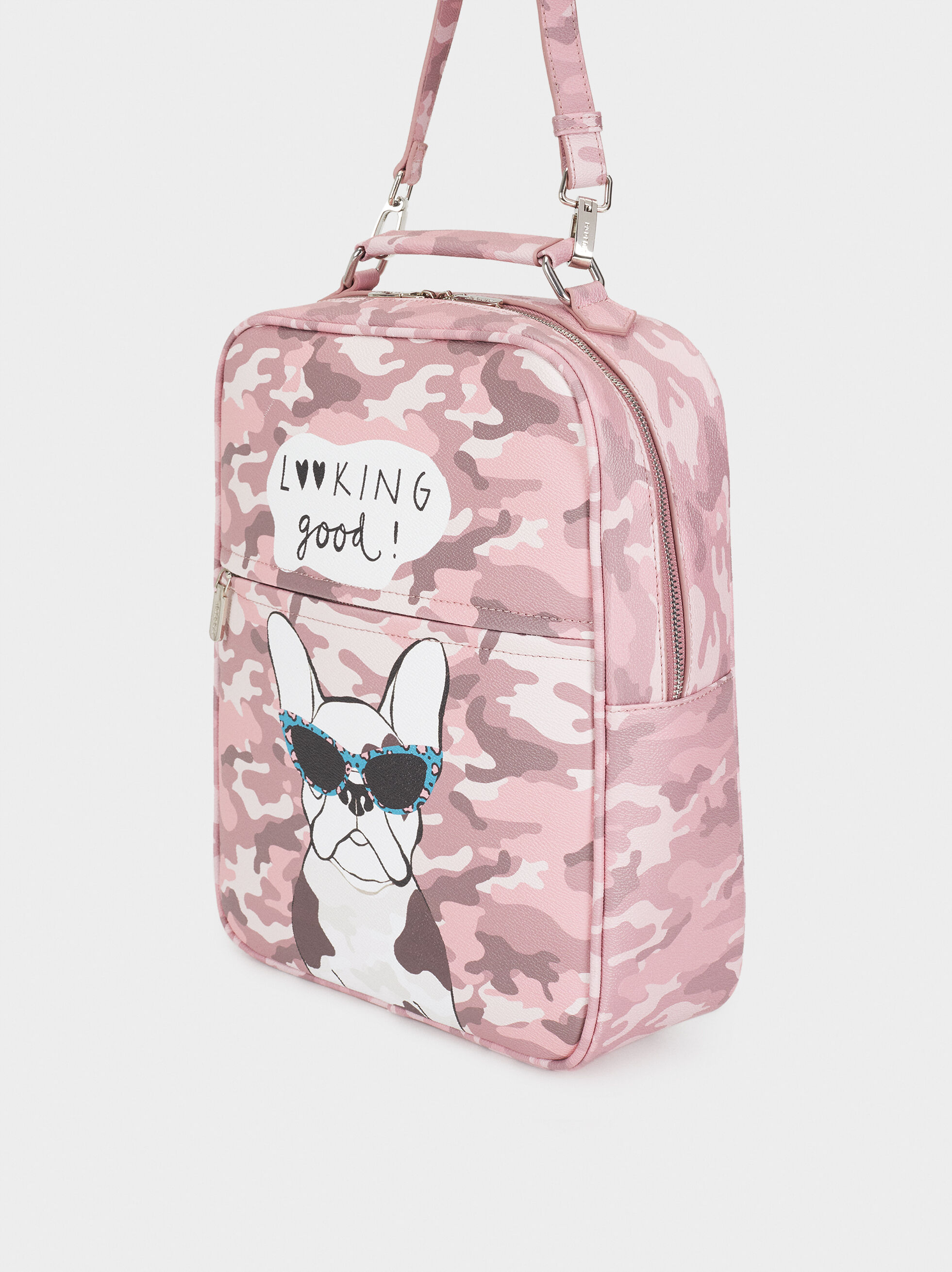 Printed Backpack, Pink, hi-res