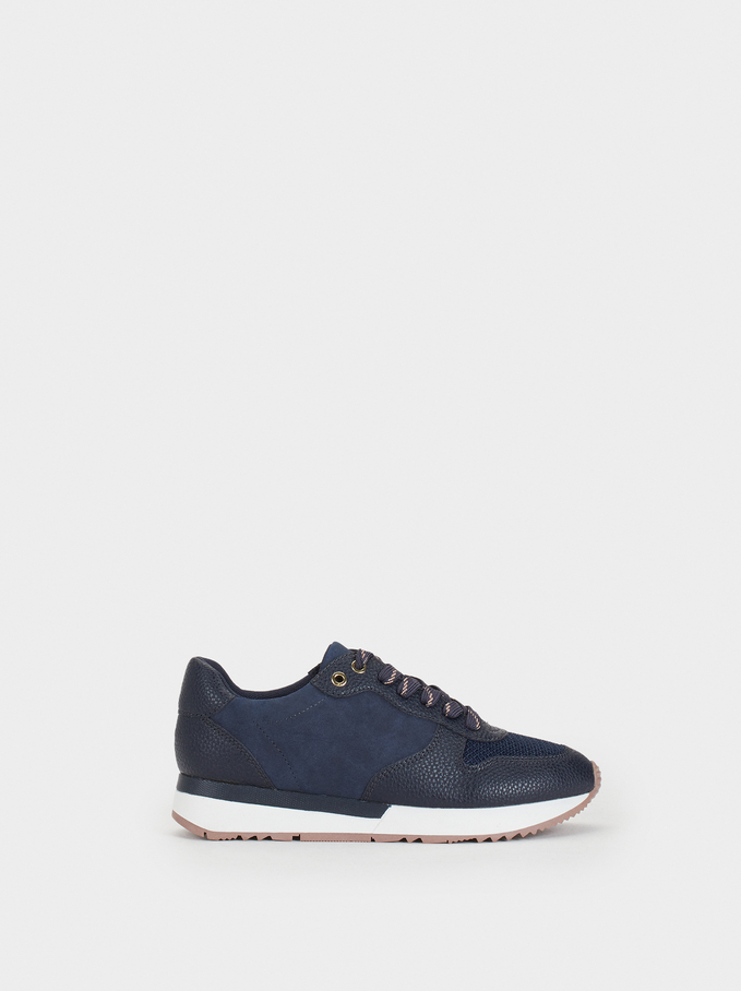 Colour Block Trainers, Navy, hi-res
