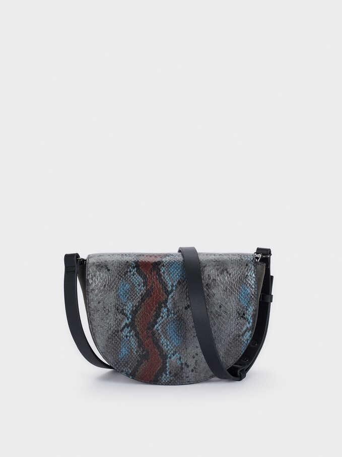Snake Print Crossbody Bag, Grey, hi-res