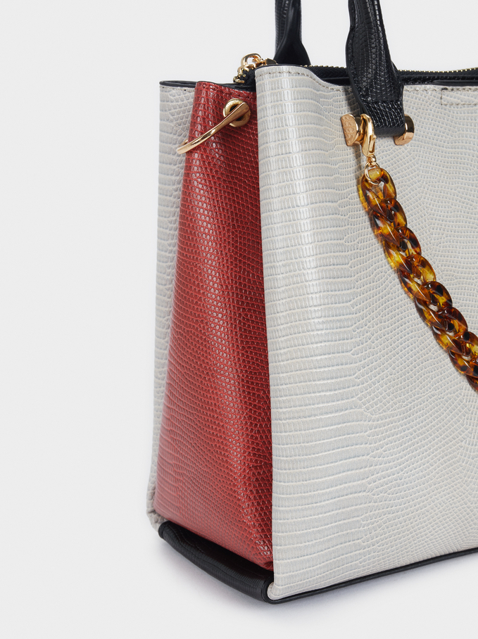 Embossed Animal Print Tote Bag, White, hi-res