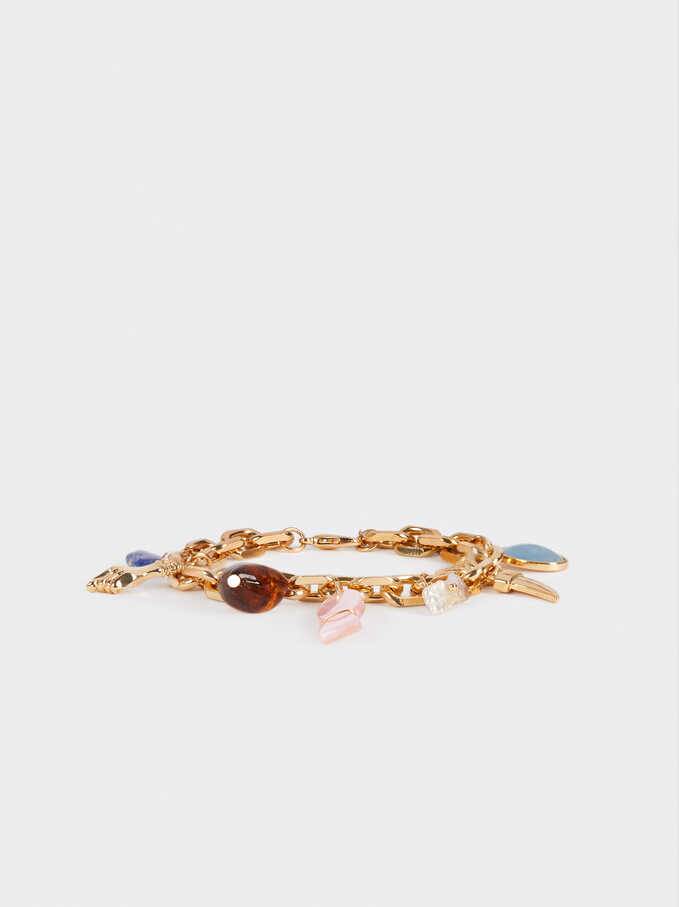 Multicoloured Charm Bracelet, Multicolor, hi-res