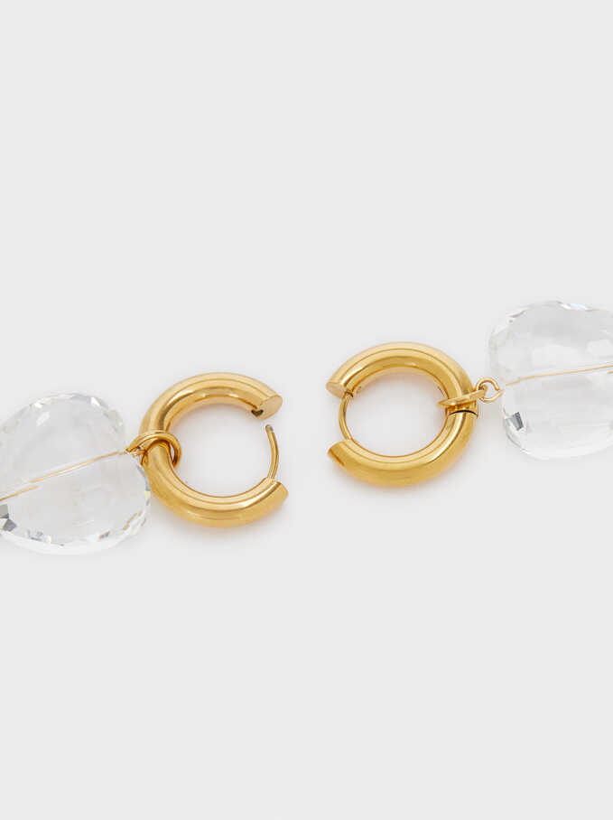 Stainless Steel Hoop Earrings With Crystals, Golden, hi-res