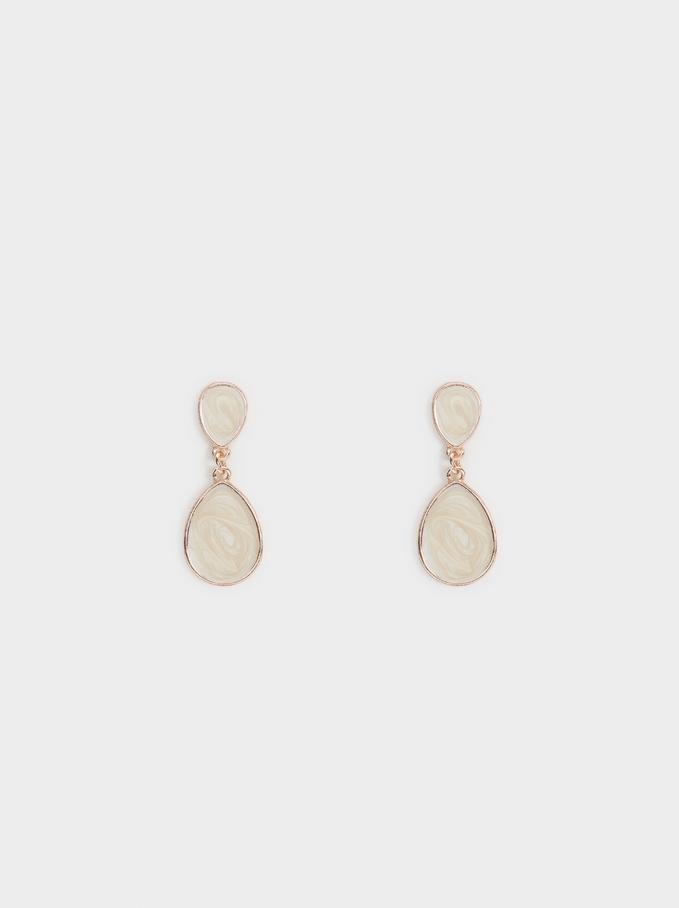 Medium Rose Gold Shiny Earrings, Orange, hi-res