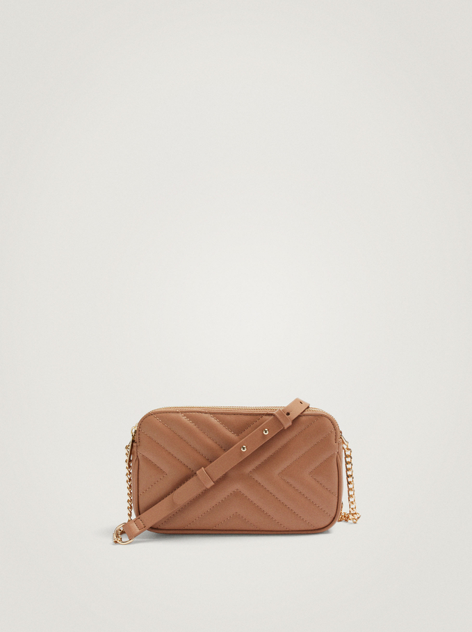 Quilted Crossbody Bag With Contrast Strap, Camel, hi-res