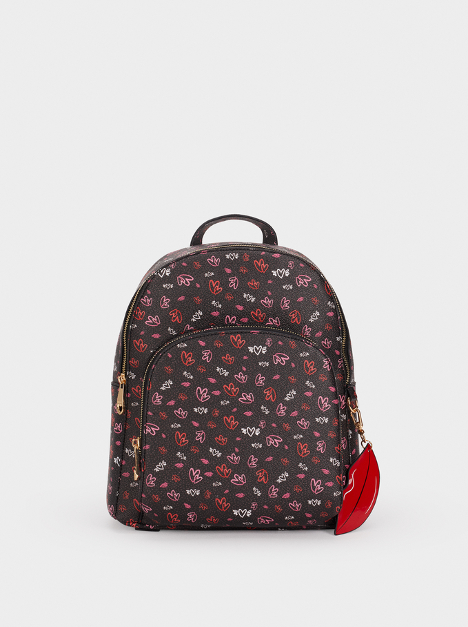 We Are Love Print Backpack, Black, hi-res