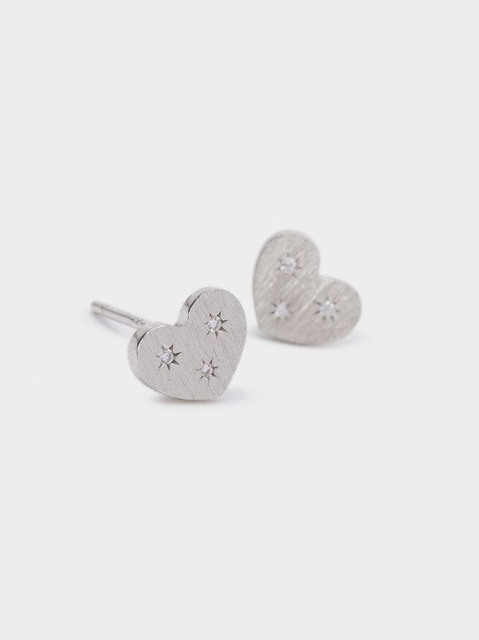 925 Silver Heart Stud Earrings With Zirconia, Silver, hi-res