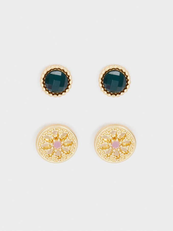 Set Of Small Gold Hoop Earrings, Multicolor, hi-res