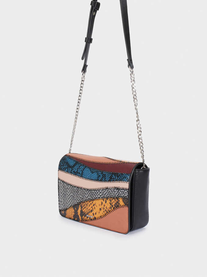 Contrast Party Crossbody Bag With Embossed Animal Print, Pink, hi-res